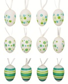Hanging Plastic Eggs 4 cm, 8 pcs in polybag w/2 Flowers
