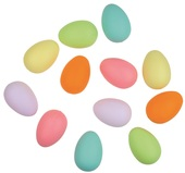 Hanging Plastic Eggs 6 cm, 12 pcs in Polybag