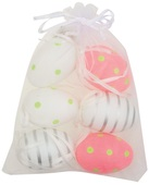 Hanging white/pink Plastic Eggs 6 cm, 6 pcs in organza bag