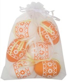 Hanging white/Orange Plastic Eggs 6 cm, 6 pcs in organza bag