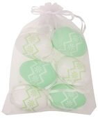 Hanging white/green Plastic Eggs 6 cm, 6 pcs in organza bag
