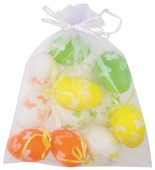 Hanging Plastic Eggs 6 cm, 12 pcs in organza bag