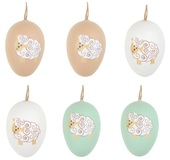 Hanging Plastic Eggs w/Sheep 6 cm, 6 pcs in polybag