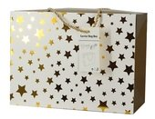 Folding Gift Bag w/Golden Stars 27x20x13 cm