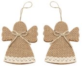 Hanging Jute Angel 8 cm, 2 pcs