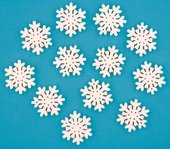 Wooden Snowflake 3 cm, 12 pcs, w/Tape