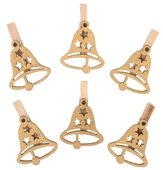 Wooden Bell 3 cm, on Peg, 6 pcs