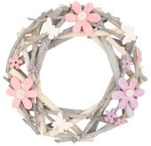 Wreath, Wicker, 30 cm, w/Flowers and Butterflies