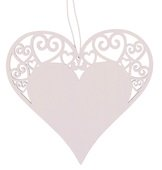 Hanging Wooden Heart 12 cm, White