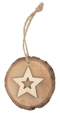 Hanging Wooden Oval w/Star 7 cm