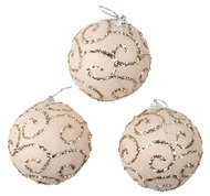 Baubles Shatterproof 8 cm, Set of 3, Beige with Glitters