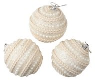 Baubles Shatterproof 8 cm, Set of 3, Beige with Pearls