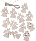 Hanging Wooden Angel 3 cm 12 pcs, Silver
