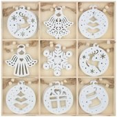 Hanging Wooden Decorations 6 cm 27 pcs in Box