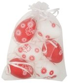 Hanging white/red Plastic Eggs 6 cm, 6 pcs in organza bag